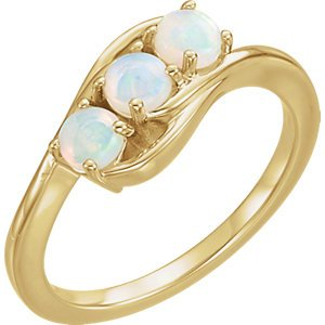 Opal Cabochon 3-Stone Past, Present, Future Ring, 14k Yellow Gold