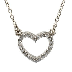 Platinum Diamond Heart Necklace (GH Color, SI1 Clarity, 1/8 Cttw)