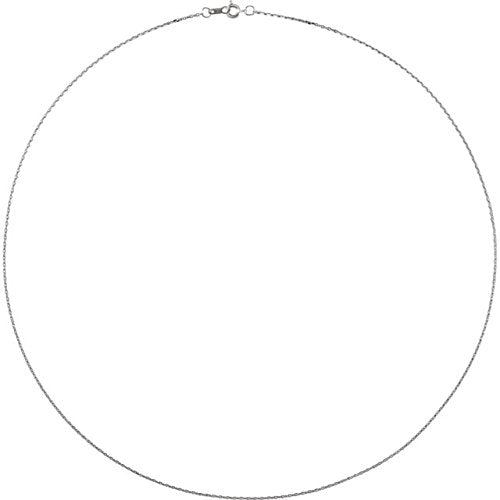 Platinum 1 mm Diamond Cut Cable Chain, 16""