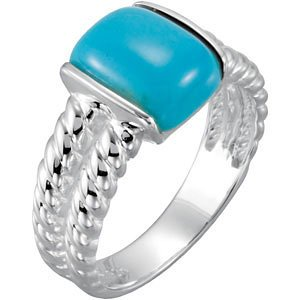 Sterling Silver Turquoise Twisted Ring, Size 7