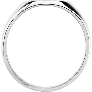 Men's Brushed Signet Semi-Polished 14k White Gold Ring (18x16mm) Size 11.25