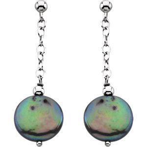Black Freshwater Cultured Coin Pearl Earrings, Sterling Silver (12.5-13 MM)