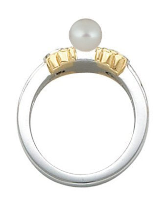 Platinum and 18k Yellow Gold Pearl and Diamond Ring, Sizes 3 to 10