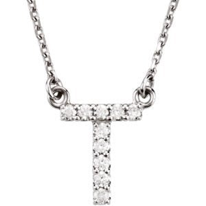 "14k White Gold Diamond Alphabet Letter T Necklace (1/10 Cttw, GH Color, I1 Clarity), 16.25"" to 18.50"""