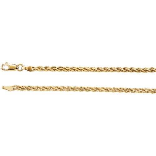 2mm 14k Yellow Gold Diamond Cut Wheat Chain, 24""
