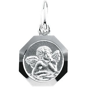 14k White Gold St. Raphael Angel Octagon Medal