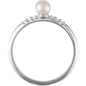 White Cultured Pearl, Diamond Stackable Ring, Sterling Silver (4-4.5mm)(.05Ctw, Color G-H, Clarity I1)