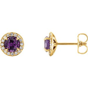 Chatham Created Alexandrite and Diamond Halo-Style Earrings, 14k Yellow Gold (3.5 MM) (.16 Ctw, G-H Color, I1 Clarity)