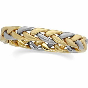 3.5mm 14k Yellow and White Gold Two-Tone Hand Woven Band, Size 5