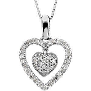 14k White Gold Diamond Double Heart Necklace (GH Color, I1 Clarity, 1/4 Cttw)