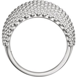 Beaded Dome Ring, Rhodium-Plated 14k White Gold, Size 5.75