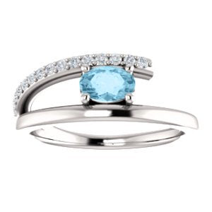 Platinum Aquamarine and Diamond Bypass Ring (.125 Ctw, G-H Color, S12-S13 Clarity)