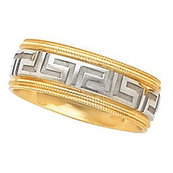 7mm 14k White and Yellow Gold Two Tone Design Band, Size 10.5