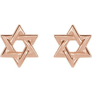 Star of David 14k Rose Gold Stud Earrings (9.50X9.50 MM)