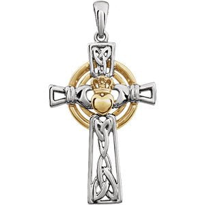 Two-Tone Claddagh Cross Rhodium-Plated 14k White and Yellow Gold Pendant (34.00X19.00 MM)