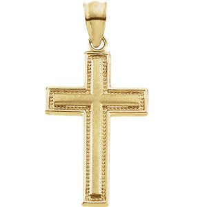 Inlay Cross 14k Yellow Gold Pendant (23.75X15.50 MM)