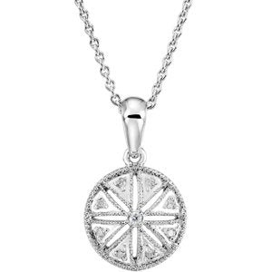 "The Men's Jewelry Store (for HER) Diamond Round Vintage Style Sterling Silver Pendant Necklace, 18"" (.05 Cttw)"