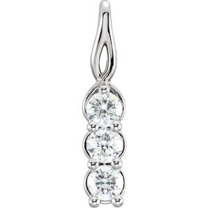 3-Stone Diamond Pendant, Rhodium-Plated 14k White Gold (0.33 Ctw, G-H Color, I1 Clarity)