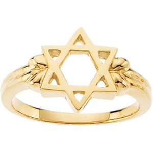 18k Yellow Gold Star of David Silhouette 12mm Ring, Size 7