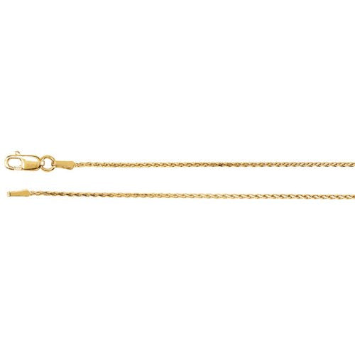 1mm 14k Yellow Gold Diamond Cut Wheat Chain, 16""