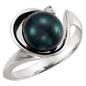 Black Akoya Cultured Pearl and Diamond Ring, Rhodium-Plated 14k White Gold (8mm) (.03Ct, G-H Color, I1 Clarity)