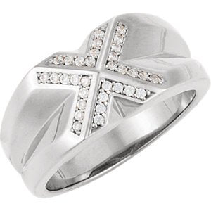Men's Diamond 14k White Gold Belcher Style Ring, Size 11 (.25 Cttw, GH Color, I1 Clarity)