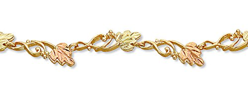 Wave Link with Leaves Bracelet, 10k Yellow Gold, 12k Green and Rose Gold Black Hills Gold Motif