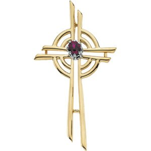 Cross with Genuine Ruby 14k Yellow Gold Pendant