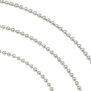 Sterling Silver Bead Chain Necklace 16""