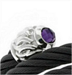 Men's Tango Collection Black Titanium Cable and Sterling Silver Caps Amethyst Bracelet, 6""