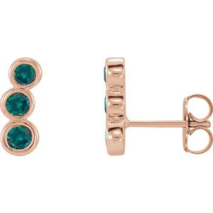 Chatham Created Alexandrite Three-Stone Ear Climbers, 14k Rose Gold