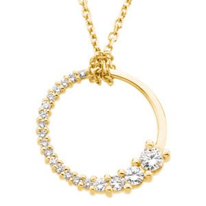 "Diamond Circle 'Journey' Pendant in 14k Yellow Gold Necklace, 18"" (1/5 Cttw)"