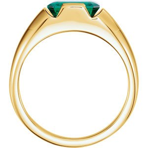Men's Chatham Created Emerald 3 Ct. Ring, 14k Yellow Gold, Size 12.5