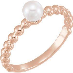 White Freshwater Cultured Pearl Stackable Beaded Ring, 14k Rose Gold (5.5-6mm) Size 6.5