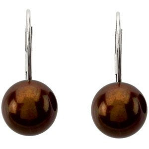 Chocolate Cultured Freshwater Pearl Earrings, 14k White Gold (9-9.5 MM)
