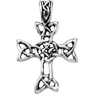 Celtic Halo Cross Sterling Silver Pendant (24.13 X 20.37 MM)