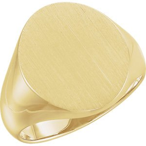 Men's Brushed Signet Semi-Polished 10k Yellow Gold Ring (18x16mm)