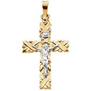 Two-Tone Crucifix 14k Yellow and White Gold Pendant(28.9X15.5MM)
