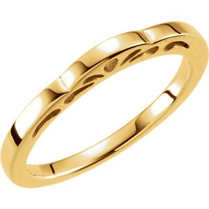 Cut-Out Paisley 3mm Stackable 14k Yellow Gold Ring, Size 4.5