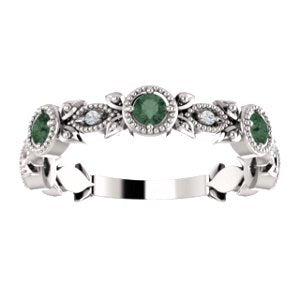 Alexandrite and Diamond Vintage-Style Ring, Rhodium-Plated 14K White Gold, Size 7.75
