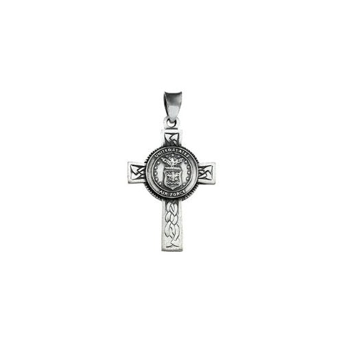 US Air Force Halo Cross Sterling Silver Pendant Necklace, 24""