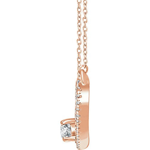 "Diamond Two-Stone Bar Necklace in 14k Rose Gold, 16-18"" (3/8 Ctw, Color H+, Clarity I1)"