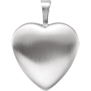 Satin-Brush Heart with Cross and Enameled Flowers Sterling Silver Locket (15.80X16.00 MM)