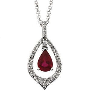 Ruby and Diamond Rhodium Plate 14k White Gold Necklace, 18""