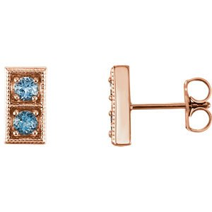 Aquamarine Two-Stone Earrings, 14k Rose Gold