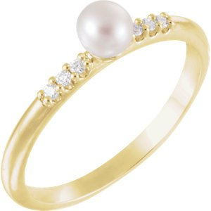 White Cultured Pearl, Diamond Stackable Ring, 14k Yellow Gold (4-4.5mm)(.05Ctw, Color G-H, Clarity I1)