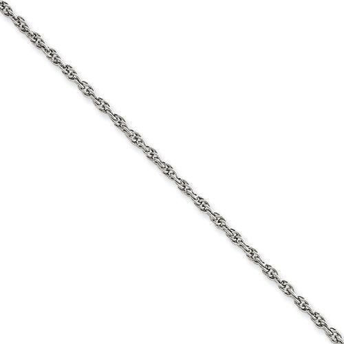 1.75 mm 14k White Gold Solid Rope Chain, 18""