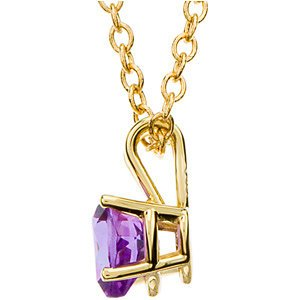 14k Yellow Gold Amethyst Heart Necklace