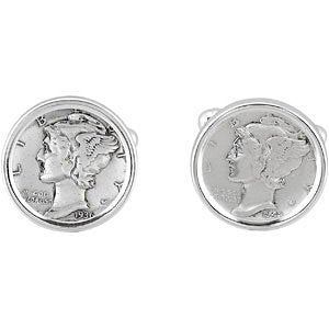 Mercury Dime Coin Bezel-Set Sterling Silver Cuff Links, 18MM