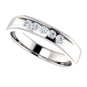 Men's 5-Stone Diamond Wedding Band, Rhodium-Plated 14k White Gold (1 Ctw, Color G-H, SI2-SI3 Clarity) Size 11